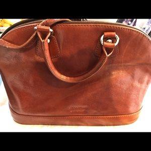 Rich chestnut brown Italian leather bowler bag